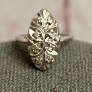 Vintage Navette Edwardian Victorian Ring